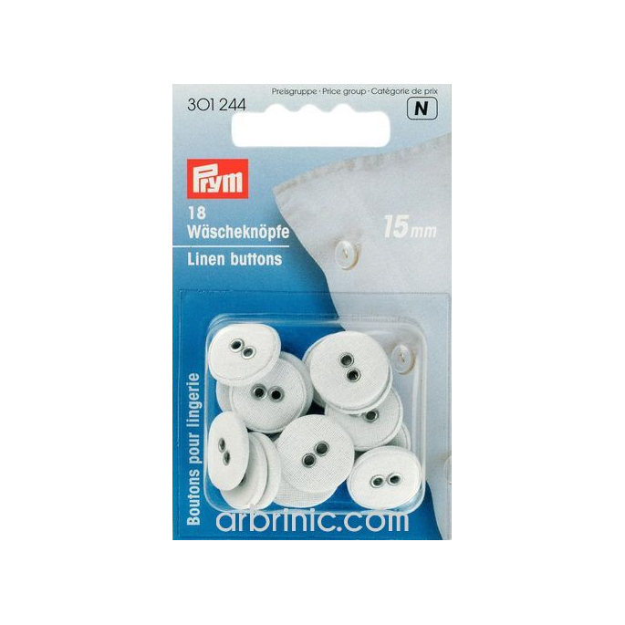 Boutons Lingerie 15mm - recouverts coton (18 boutons)