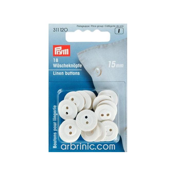 Boutons Lingerie 15mm - en fibre naturelle (18 boutons)