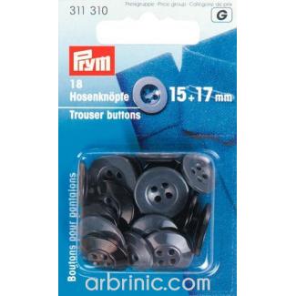 Boutons Pantalon 15+17mm - noir et gris (18 boutons)