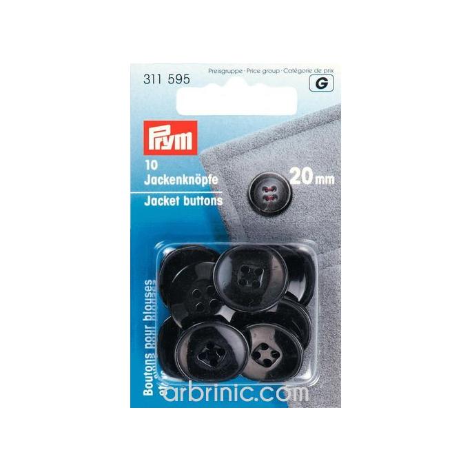 Boutons Vestes 20mm - noir (10 boutons)
