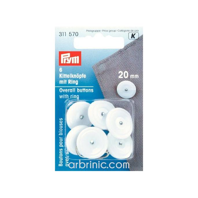 Boutons à anneau de fixation 20mm - amovible (6 boutons)