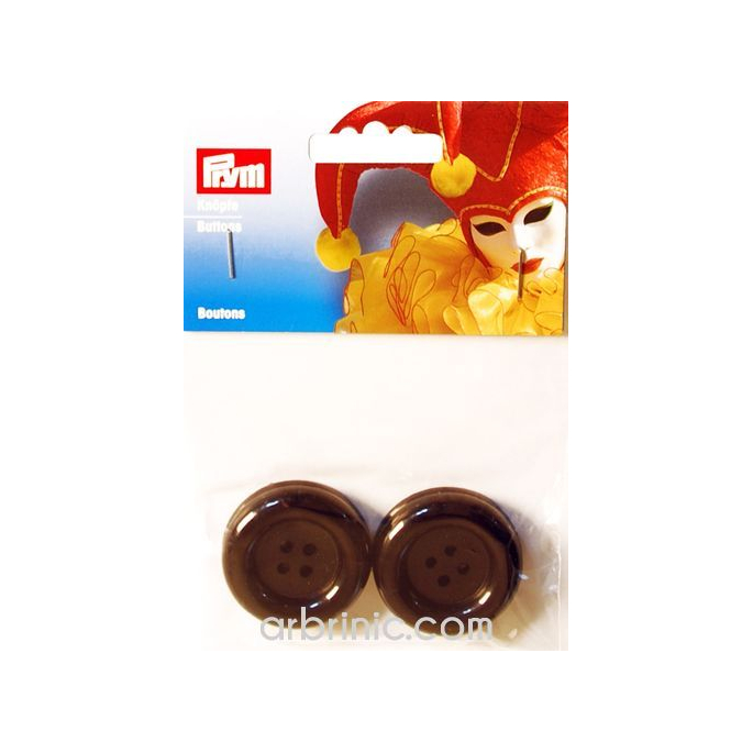 Plastic Buttons 35mm - Black (4 pieces)