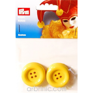 Plastic Buttons 35mm - Yellow (4 pieces)