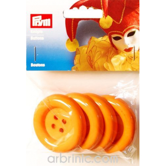 Plastic Buttons 50mm - Orange (4 pieces)