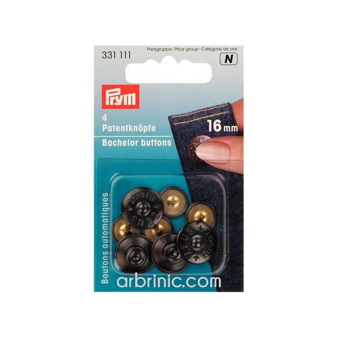 Boutons métal automatique 16mm - Zeus Noir (4 boutons)