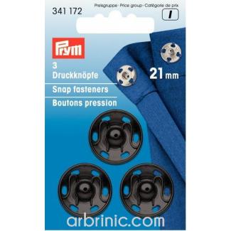 Boutons pression à coudre 21mm ronds laiton noir (x3)