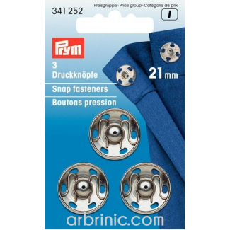 Sew on snap fasteners 21mm round silver brass (x3)