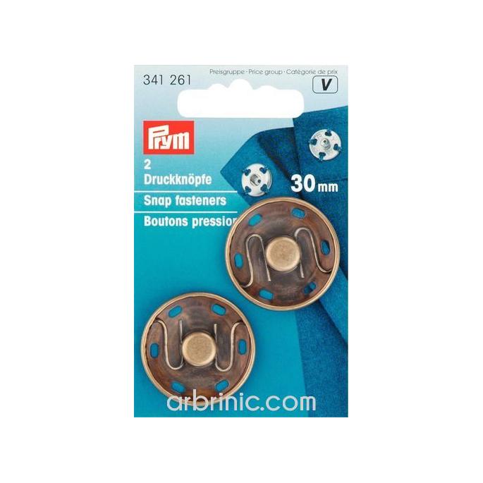 Sew on snap fasteners 30mm round black brass (x2)
