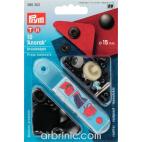 Press fasteners Anorak 15mm Black brass with tool (x10)