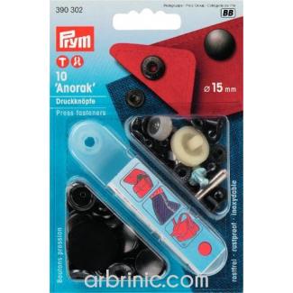 Boutons pression Anorak 15mm Laiton Noir avec outil (x10)