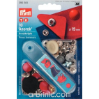 Press fasteners Anorak 15mm Red with tool (x10)