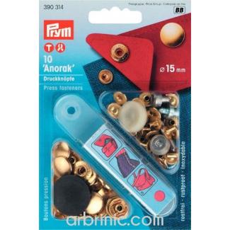 Boutons pression Anorak 15mm Laiton avec outil (x10)