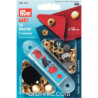 Press fasteners Anorak 12mm Brass with tool (x10)