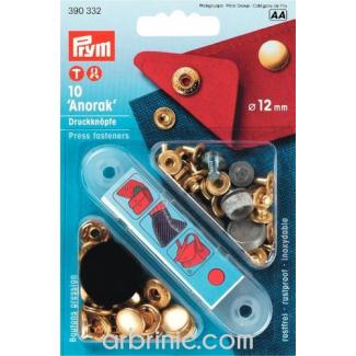Boutons pression Anorak 12mm Laiton avec outil (x10)