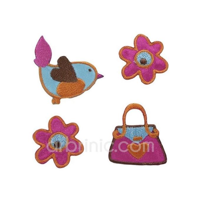 Ecusson broderie Fleurs et Oiseau (x4)