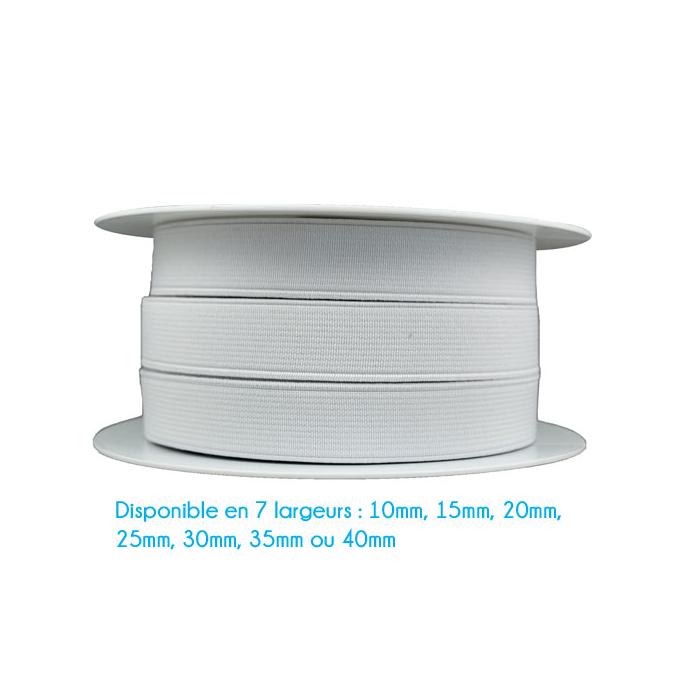 Elastique Côtelé 20mm Blanc (bobine 25m)