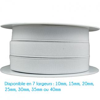 Elastique Côtelé 35mm Blanc (bobine 25m)