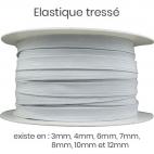 Elastique Tressé 8mm 12 gommes Blanc (bobine 50m)