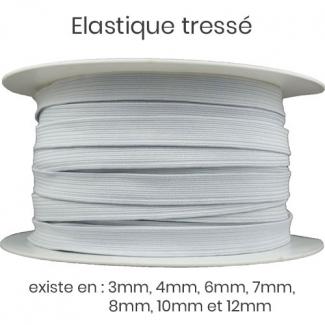 Elastique Tressé 12mm 16 gommes Blanc (bobine 50m)