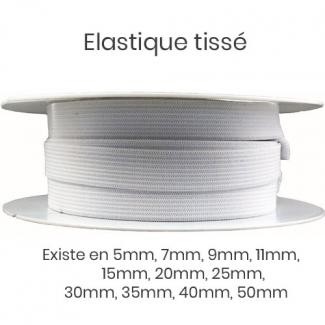 Elastique Tissé 9mm Blanc (bobine 25m)