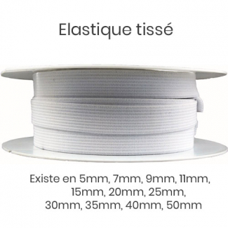 Woven Elastic White 15mm (25m roll)