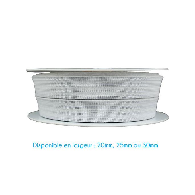 Elastique Gauffré 20mm Blanc (bobine 25m)