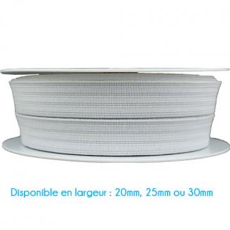 Elastique Gauffré 30mm Blanc (bobine 25m)
