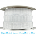 Non-Roll Flat Elastic White 20mm (25m roll)