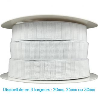 Non-Roll Flat Elastic White 25mm (25m roll)