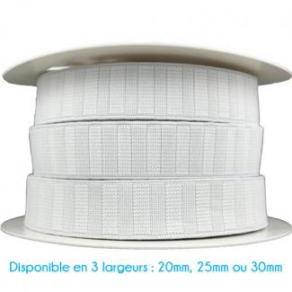 Non-Roll Flat Elastic White 25mm (25m roll)