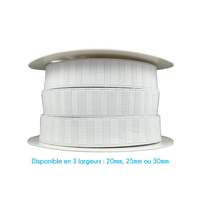 Elastique Gros Grain 25mm Blanc (bobine 25m)