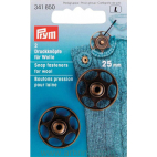 Knit on snap fasteners 25mm round black brass (x2)