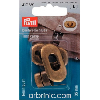 Turn clasp for bags Oval Bronze