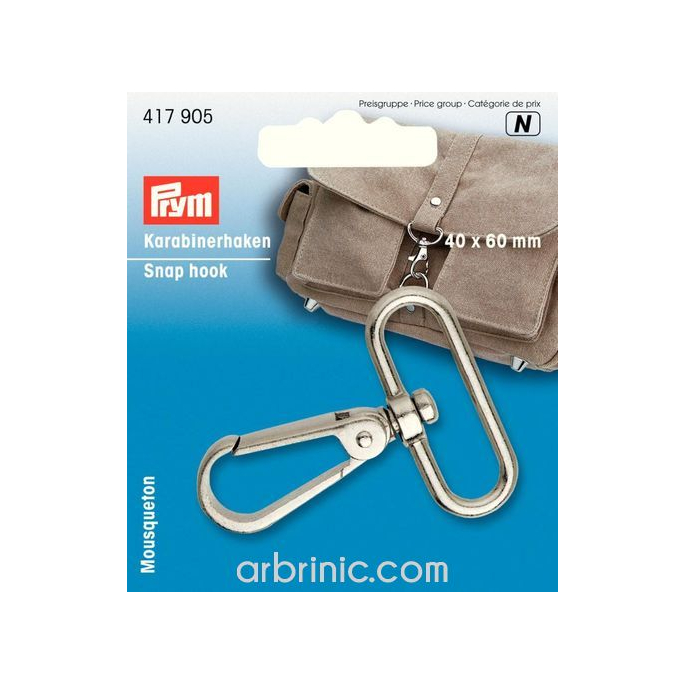 Snap hook 40x60mm Silver