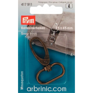 Snap hook 25x45mm Antique Bronze