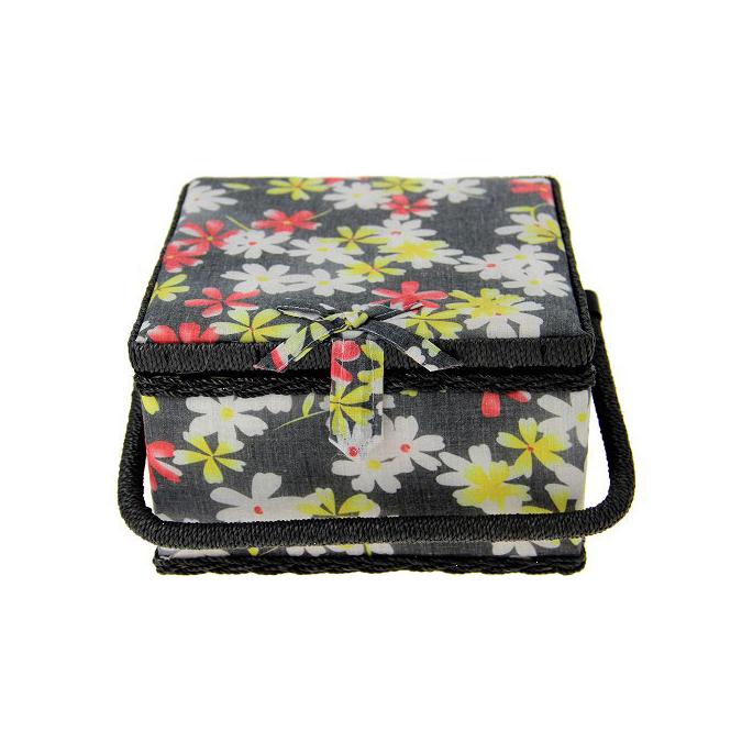 Boîte à couture en tissu Noire à fleurs