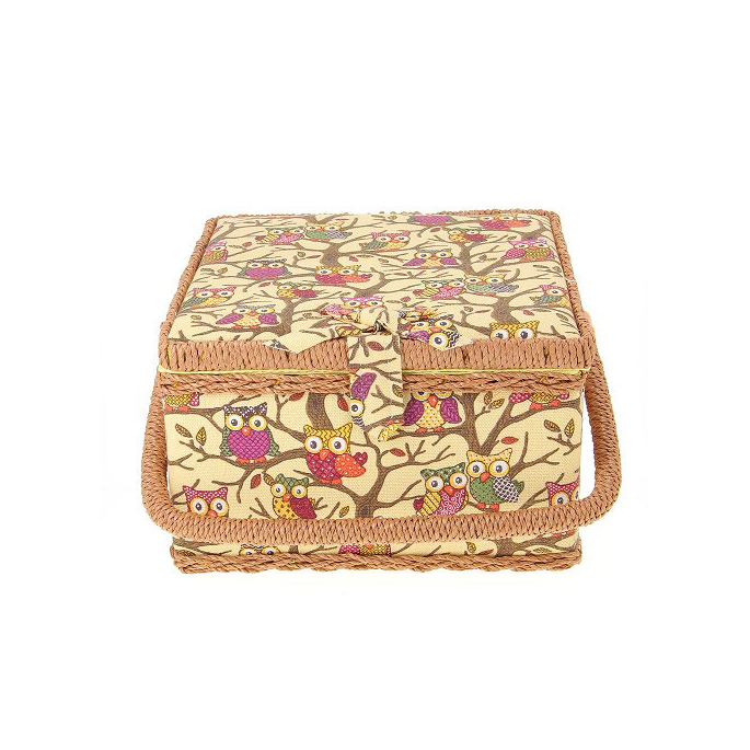 Boîte à couture en tissu Jaune à hiboux