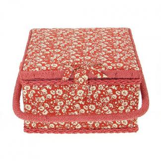 Boîte à couture en tissu Rouge à petites fleurs