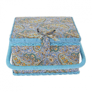 Sewing box Fabric covered Blue Paisley