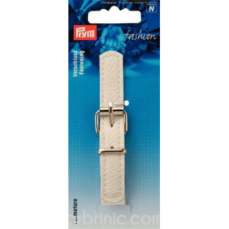 leather imitation Strap Buckle Clasp White