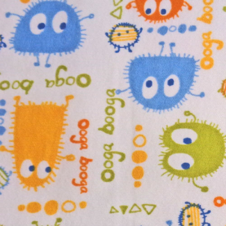 PUL poly print Ooga Booga Blue Orange Green 140cm (per 10cm)