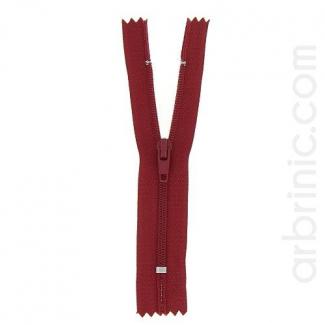 Fermeture fine nylon non séparable Rouge Foncé