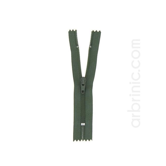 Fermeture fine nylon NS 10cm Kaki Foncé