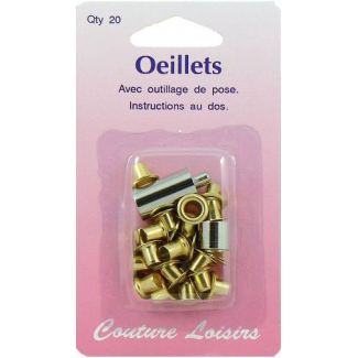 Oeillets 10mm Doré avec outil de pose (x20)