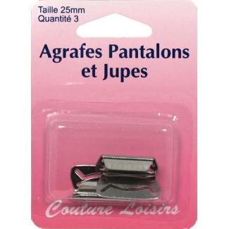 Agrafes Pantalons et Jupes 25mm Couleur Nickel (3 jeux)
