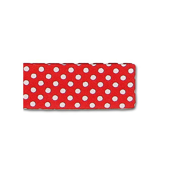Single Fold Bias Dots White on Red 20mm (by meter)
