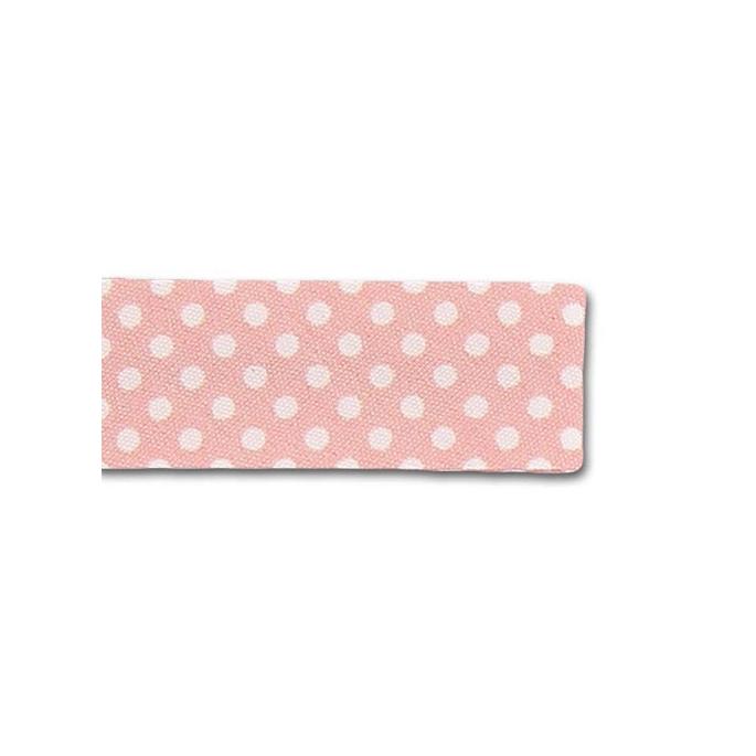 Single Fold Bias Dots White on Pink 20mm (by meter)