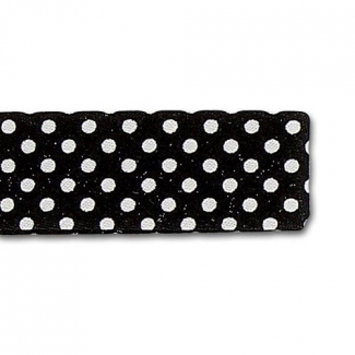 Single Fold Bias Dots White on Black 20mm (by meter)