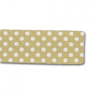 Single Fold Bias Dots White on Absinthe 20mm (by meter)