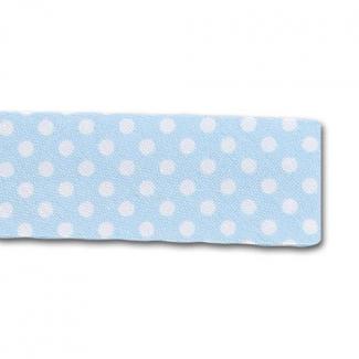 Biais fantaisie à Pois Blanc sur Bleu 20mm (au mètre)
